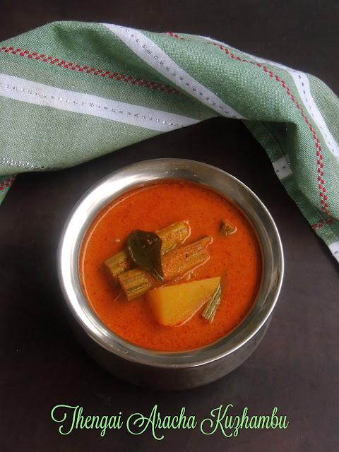 Thengai Aracha Kuzhambu,Grounded Coconut gravy
