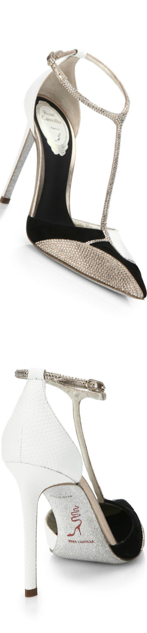 Rene Caovilla Embellished Mixed Media T-Strap Pumps