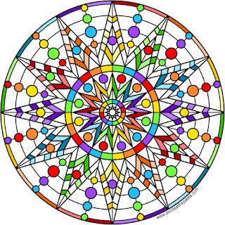 Rainbow star mandala- blank version available to color