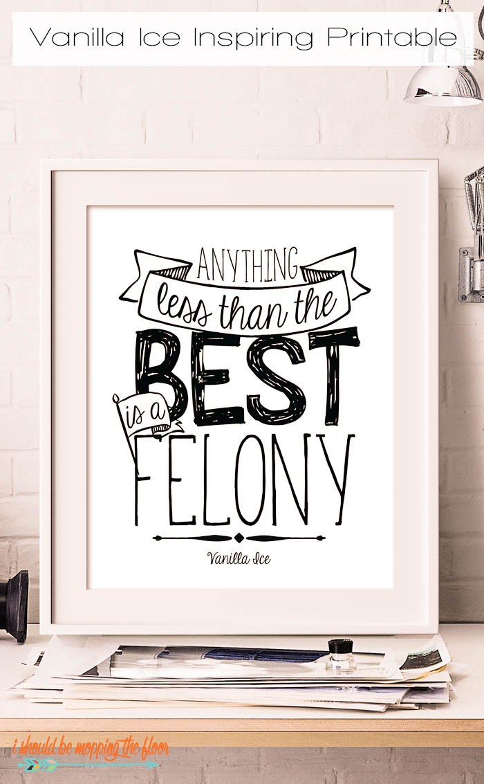 Anything Less than the Best Printable | This 8x10 inspiring printable is perfect for a workspace or anywhere you want to MOTIVATE! Anything Less than the Best is a Felony, right?!?