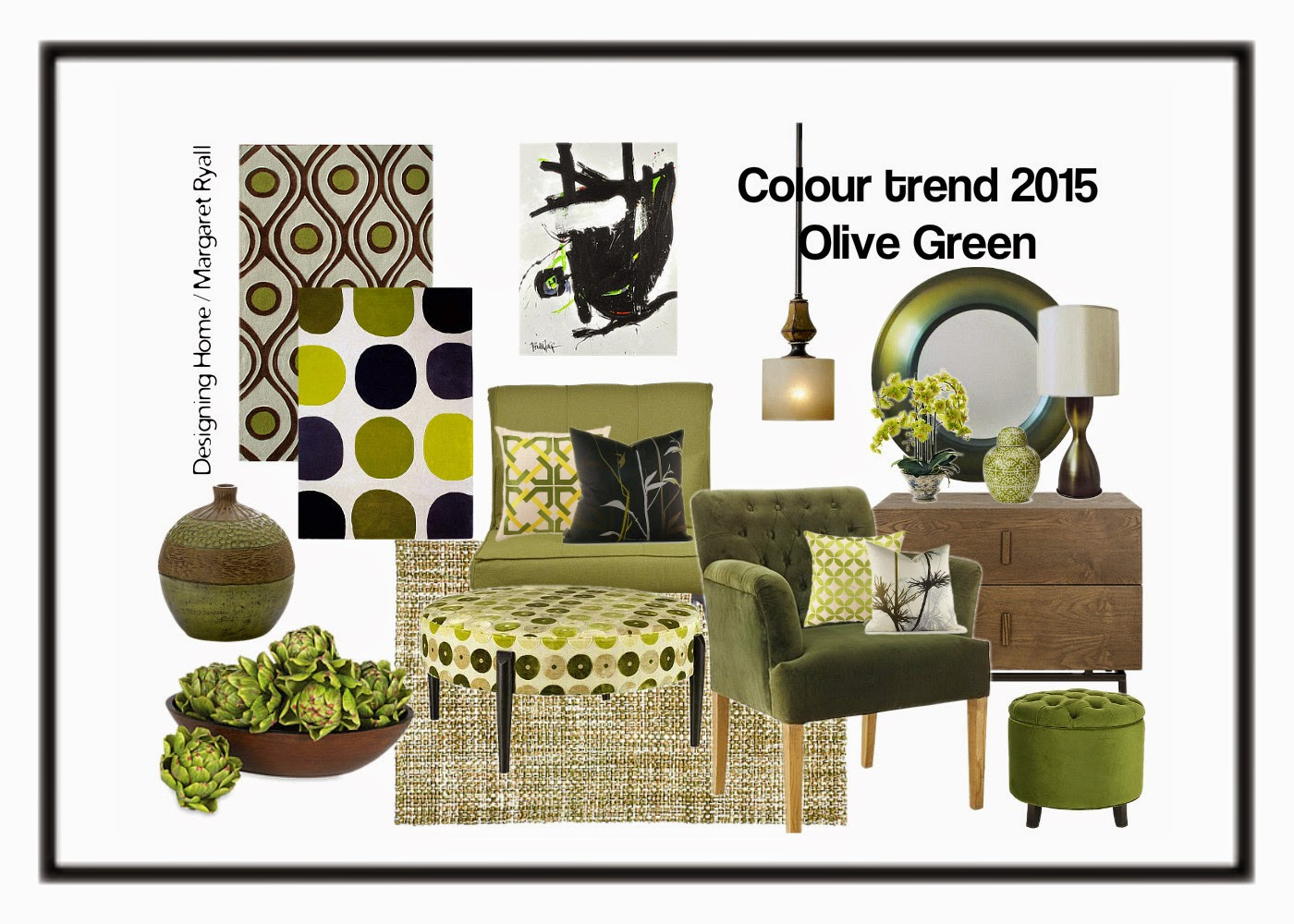 Designing Home, Margaret Ryall, style board, colour predictions 2015, olive green