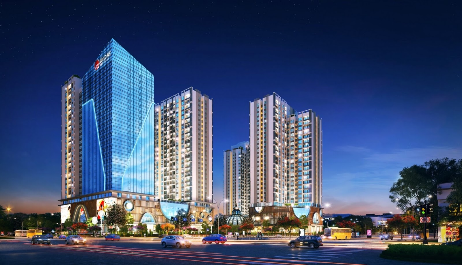 Phối cảnh toà chung cư cao cấp Hinode City Minh Khai