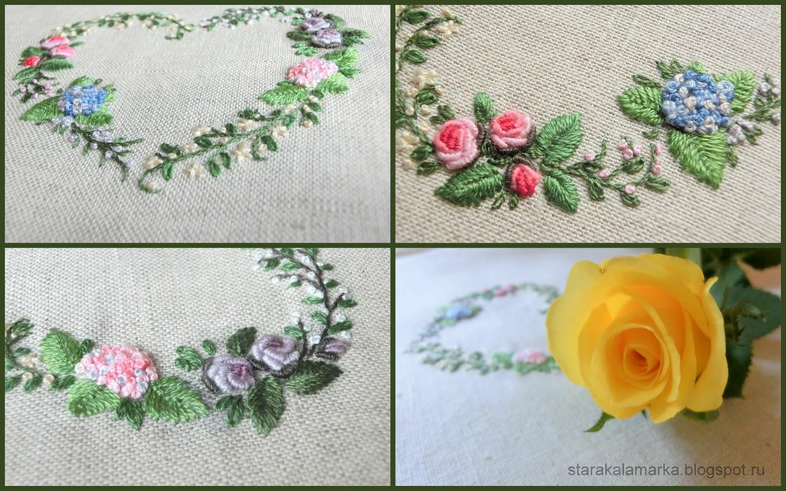 цветочная вышивка, гладь, вышивка декоративными швами, вышивка сердечки, рококо