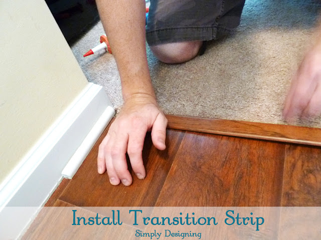 Install Transition Strip | #diy #carpet #laminateflooring #flooring #homeimprovement | at Simply Designing