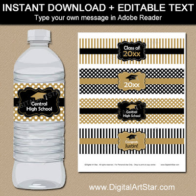 printable graduation water wraps for the class of 2016 in black and gold