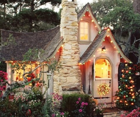 cottage Hansel with Christmas lights