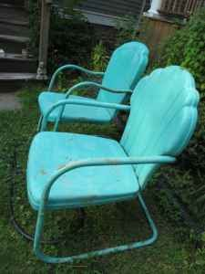 Maison Decor Old Turquoise Garden Chairs