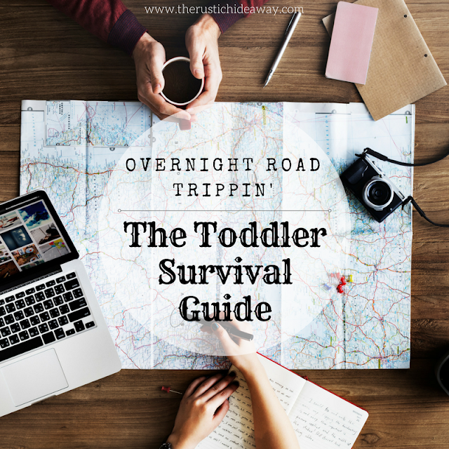 overnight road trip, toddler survival guide, camera, mac computer, map, notebook