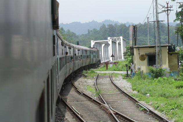 Vivek express India's longest train crossing a railway bridge