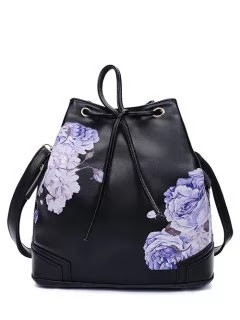 Drawstring Peony Print Backpack - Black