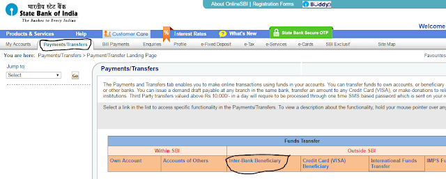 Quick Transfer Money Online in SBI