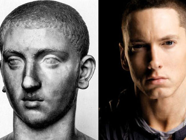 Eminem and this roman statue of his doppelganger