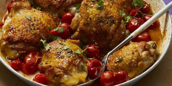 Orange-Garlic Chicken with Burst Tomatoes