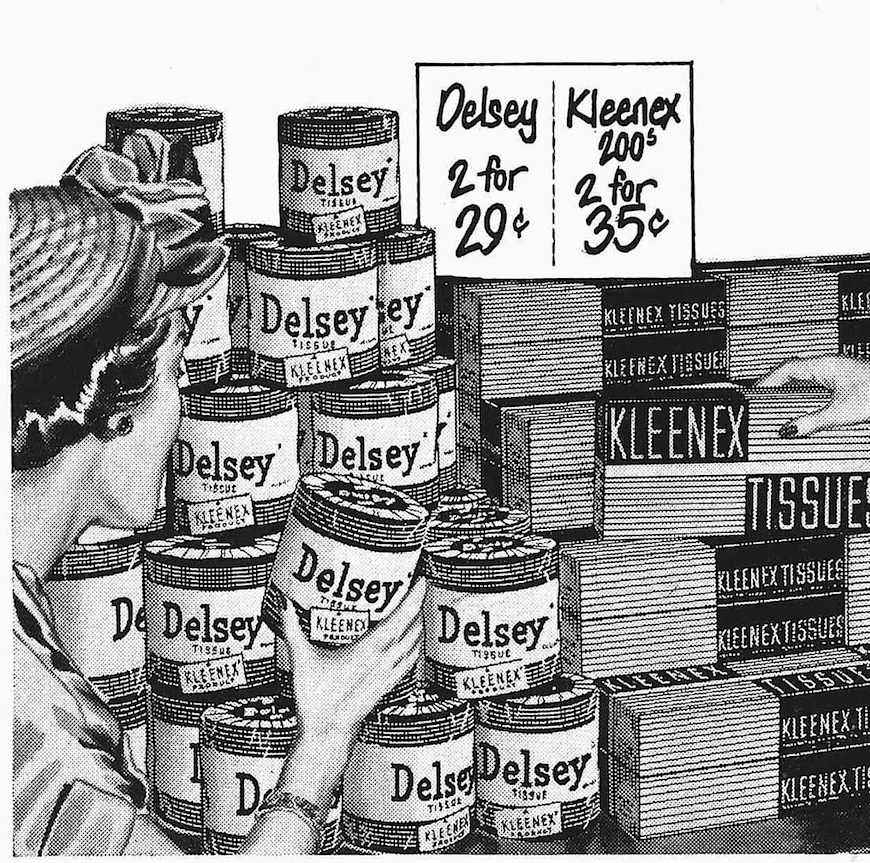 signage plus display equals product movement in 1950, an illustration with Delsey Tissue
