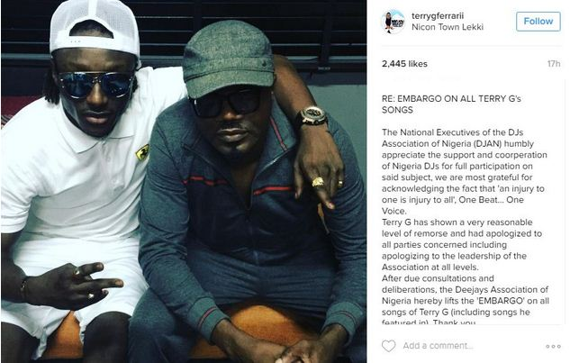 DJ Association of Nigeria accept Terry G's apology for slapping, unbans his songs