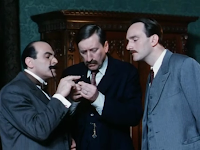 David Suchet and Philip Jackson as Hercule Poirot and Inspector Japp in Agatha Christie's Poirot Christmas