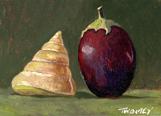 """A Conversation: Eggplant Greeting Shell"" by C. Twomey oil"