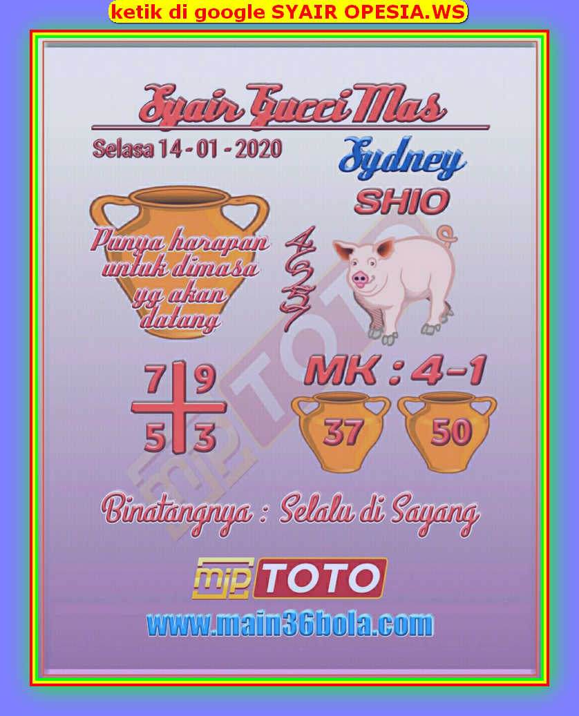 Kode syair Sydney Selasa 14 Januari 2020 19
