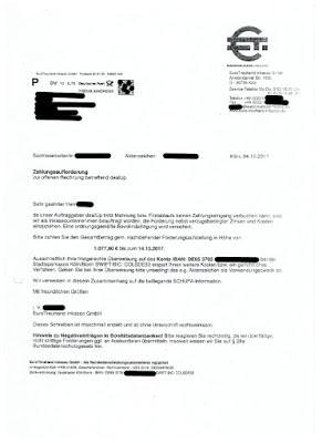 Scan: Zahlungsaufforderung EuroTreuhand Inkasso GmH, deal UP | 04.10.2107