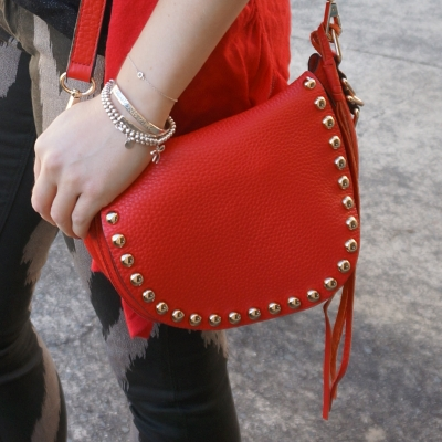 silver bracelet stack, Rebecca Minkoff unlined saddle bag in cherry red | Away From Blue