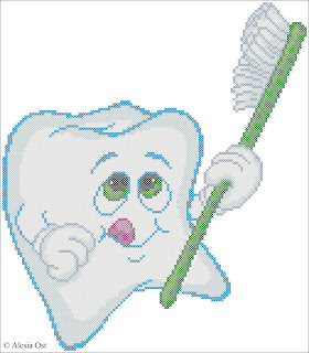 Tooth and Toothbrush, cartoon, cross-stitch, cross-stitch scheme, free pattern, x-stitch, stitch, free, вышивка крестиком, бесплатная схема, хрестик, punto croce, schemi punto croce gratis, DMC, blocks, symbols