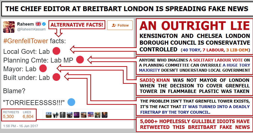 The chief editor of Breitbart London is spreading fake news