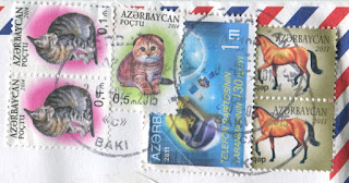 stamp, azerbaijan, cat, horse