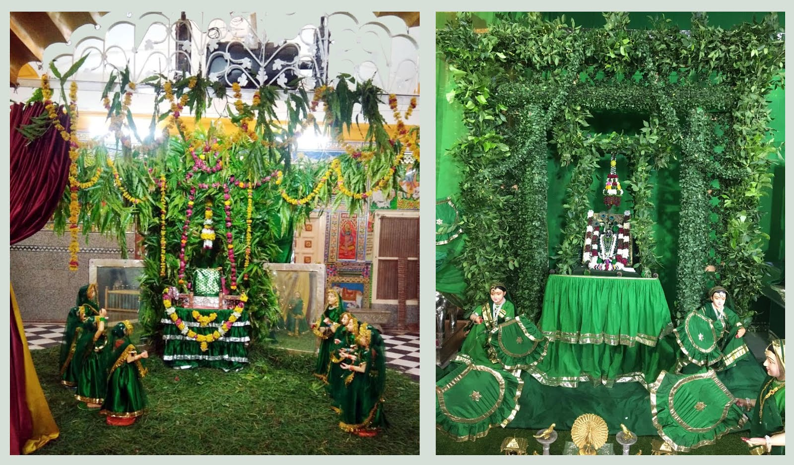 Jhabua News- हरियाली अमावस्या पर हरितिमा से आच्छादित हिण्डोले में झुले भगवान गोवर्धननाथ