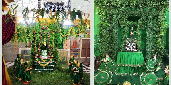 हरियाली अमावस्या पर हरितिमा से आच्छादित हिण्डोले में झुले भगवान गोवर्धननाथ