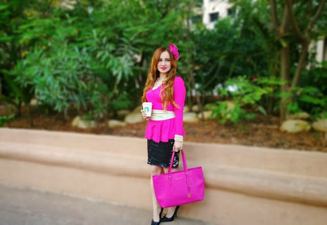 Pink Peplum Top, Zara Black & Silver Sequin Skirt, Micheal Kors Bag