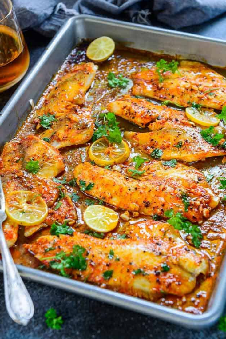 Spicy Lemon Garlic Baked Tilapia Fillet