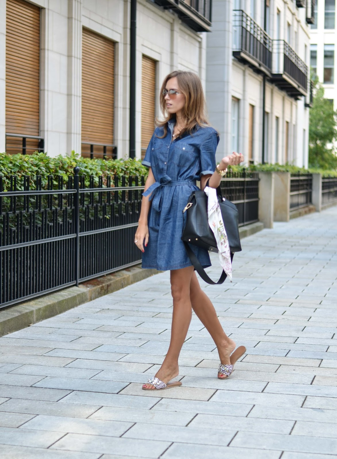 kristjaana mere denim button up belted dress summer 2015 fashion outfit