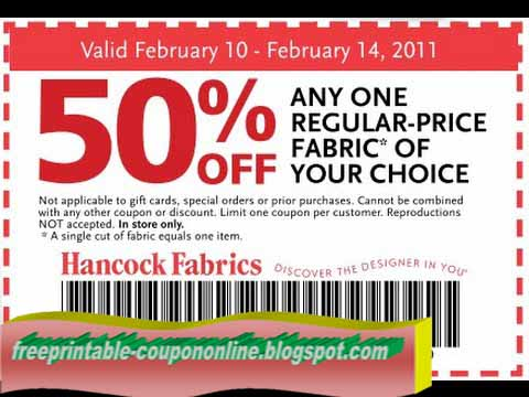 Hancock discount coupon