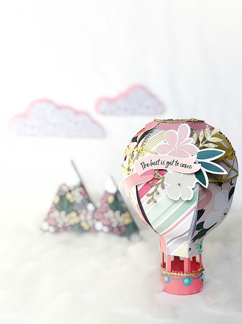 3D Paper Hot Air Balloon Echo Park Paper You and Me Collection
