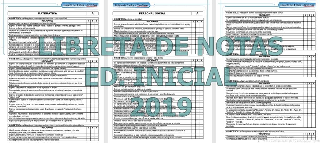 Libreta de Notas 2019 para Ed. Inicial