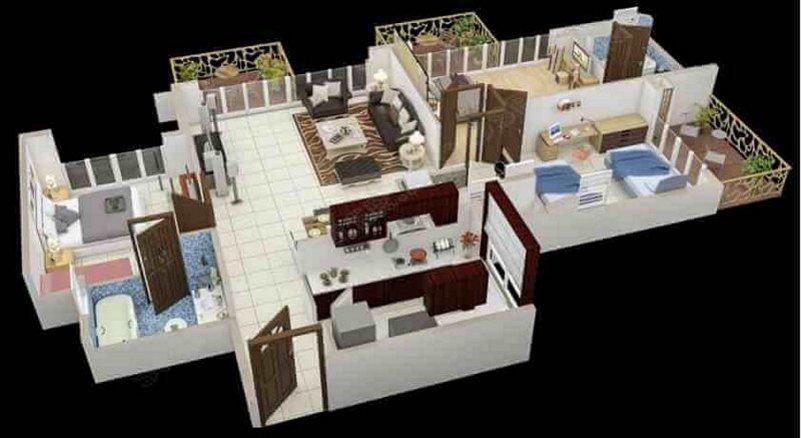 denah rumah 3 kamar tidur 1 lantai 3D 3