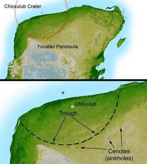 Ubicación del cráter Chicxulub.