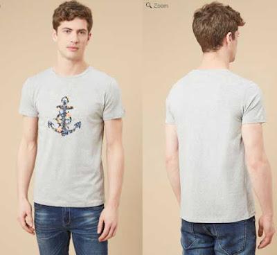 camiseta para hombre barata en color gris jaspeado
