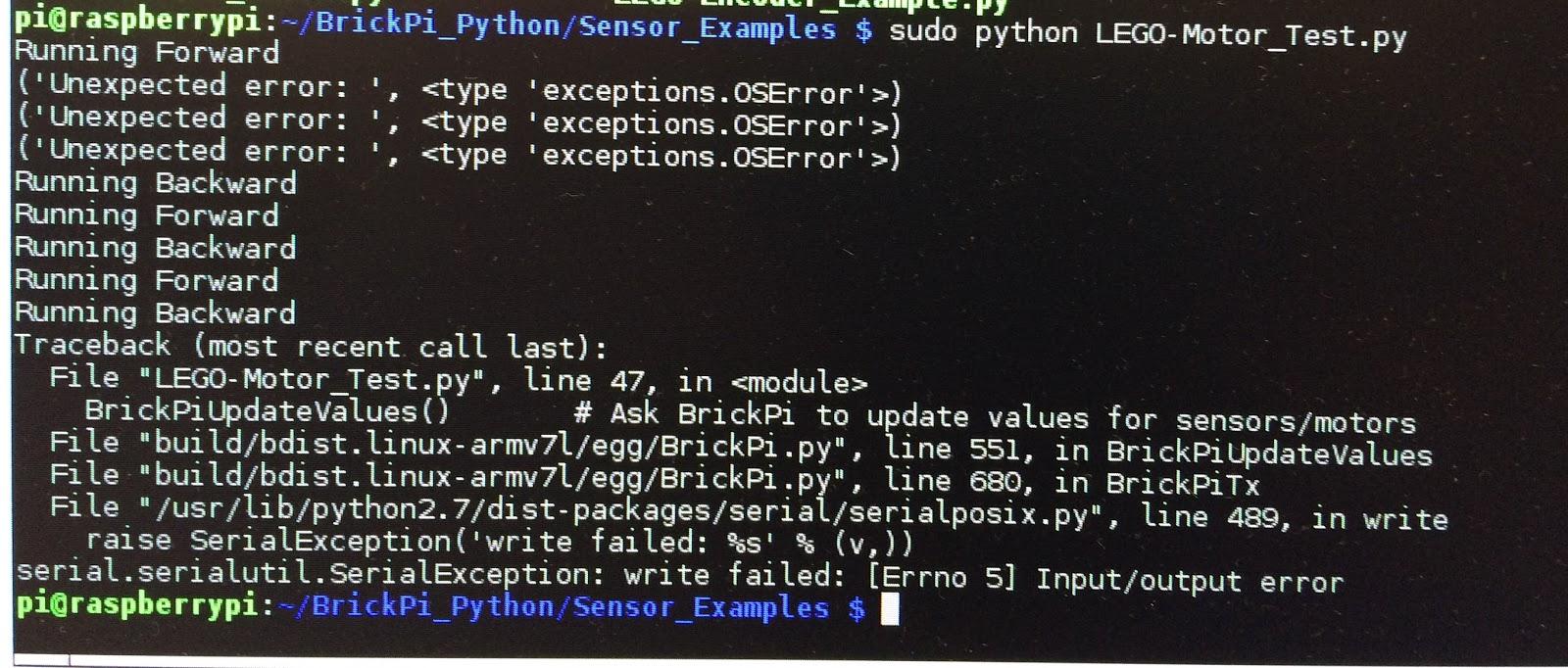 Getting around IO errors on Raspberry Pi 3 with BrickPi