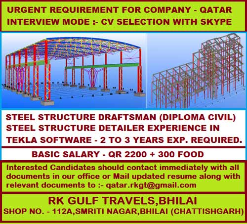 STEEL STRUCTURE DRAFTSMAN REQUIRED FOR QATAR : SKYPE