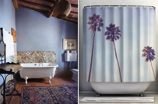 rideau de douche palmiers