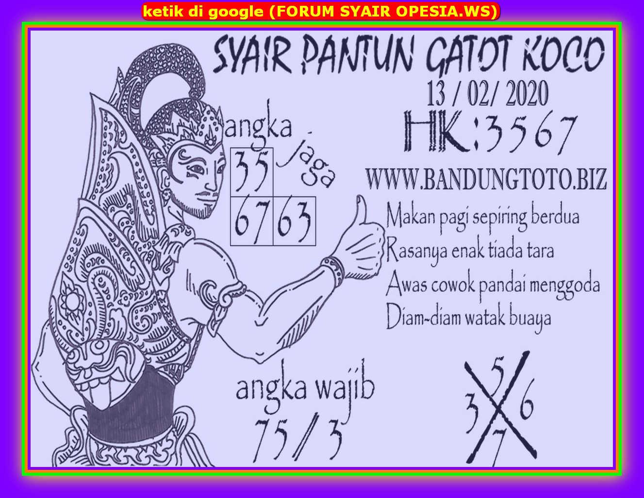 Kode syair Hongkong Kamis 13 Februari 2020 94