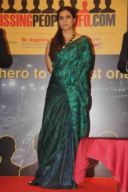 Kajol in Green and Blue Half and Half Saree at Website Launch Event