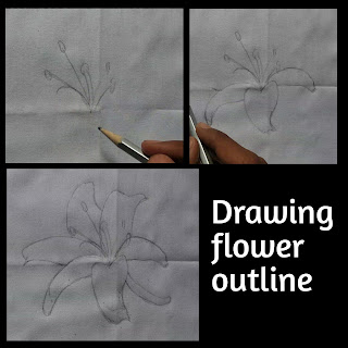 Fabric painting on clothes, step by step tutorial, fabric painting on clothes, easy tutorial of fabric painting, drawing outline with light grade pencil