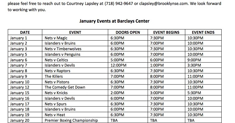 january 2018 calendar events
