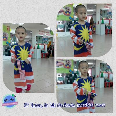 Lil' Iman cute berkurta Merdeka-wear di playschool sempena sambutan Hari Merdeka