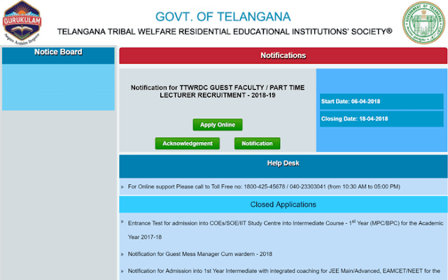 TS Tribal welfare degree guest faculty notification, apply online
