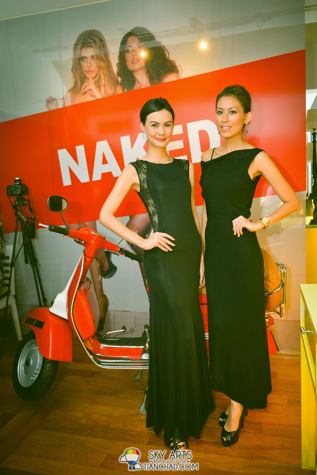 Spotted two gorgeous models with the NAKED Wallpaper and scooter Astro Digital Publications Launch @ NAKED Restaurant & Bar, Plaza Damas
