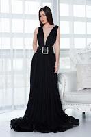 Rochie de seara Ana Radu neagra cu accesoriu tip curea