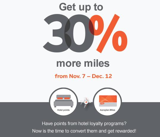 Up To 30 Bonus Aeroplan Miles When You Convert Hotel Loyalty Program Points
